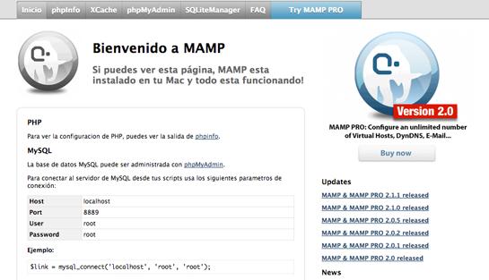 crear base de datos en nuestro servidor MAMP