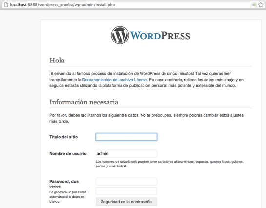 instalacion de wordpress en servidor local