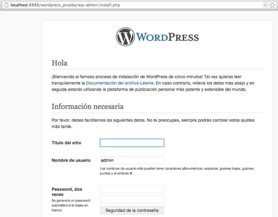 instalacion de wordpress en servidor local