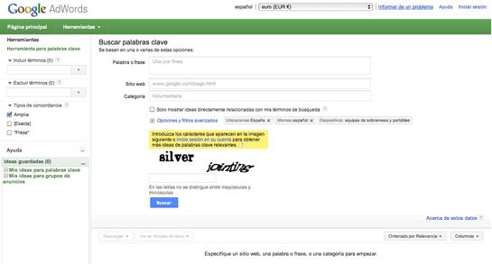 utilizar google adwords para obtener palabras clave para SEO