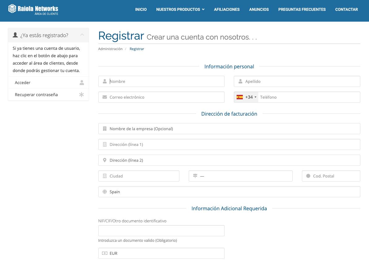 Formulario de registro en Raiola Networks