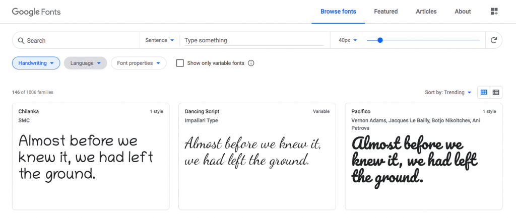 Directorio de fuentes de Google Fonts
