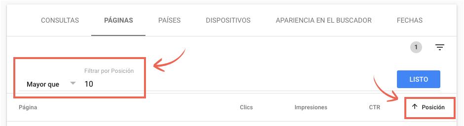 Filtrar en Google Search Console