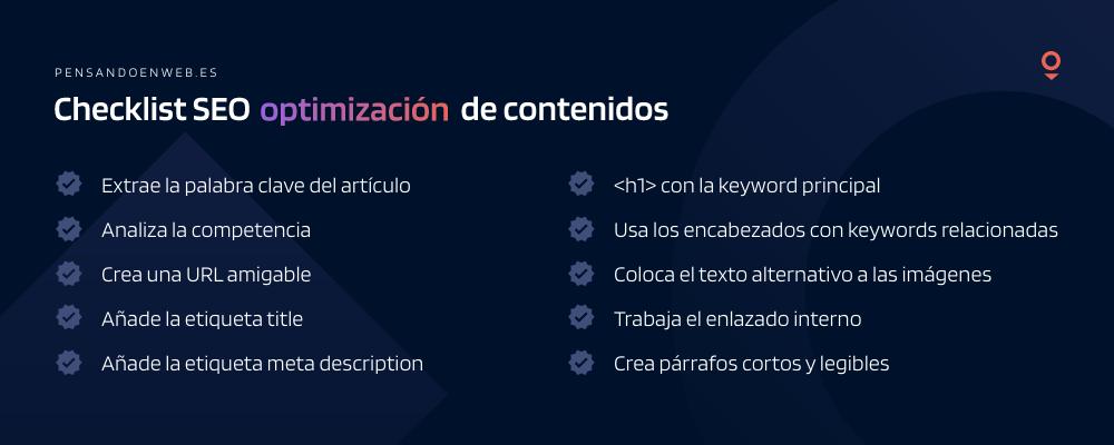 Checklist para una buena optimización de contenidos