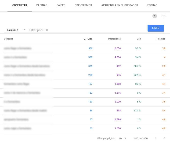 Consultas en Google Search Console