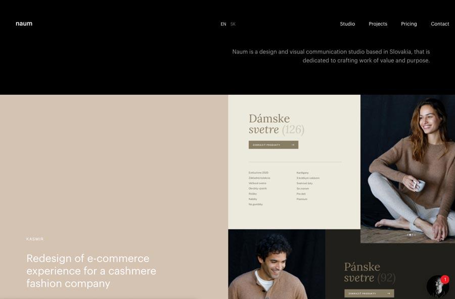 Página web corporativa de naum.studio. Estudio de diseño y comunicación en Eslovaquia