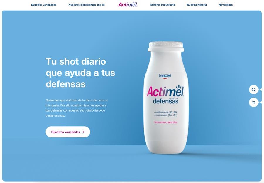 Ejemplo de página web corporativa. Actimel.es